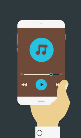 mp3 player: Vector illustration of hand holding mobile device with media player application Illustration
