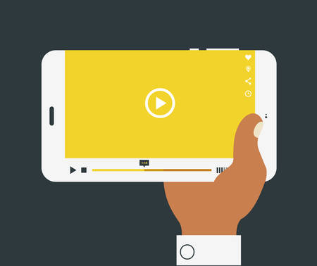 Flat design modern concept with hand holding mobile device with media player application