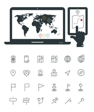 rout: Laptop and smartphone mockup with world map and map line thin icons