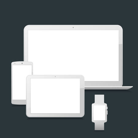laptop vector: High-detailed modern blank laptop, tablet, smartphone and smart watch vector mock up on dark background