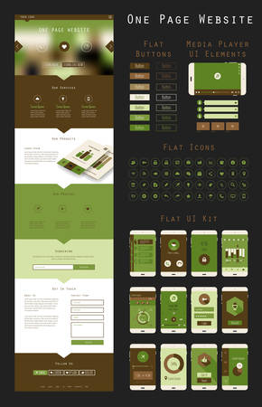 Responsive landing page or one page website template in flat design with modern blurred header background, trend flat icons and buttons, and mobile UI app templates Illustration
