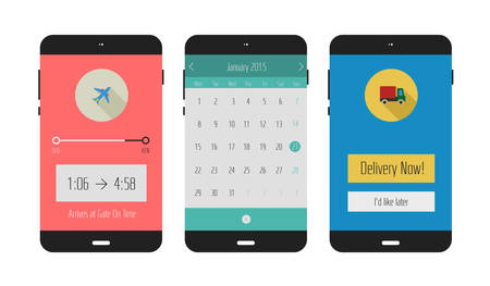 Flat design UI or UX calendar, travel and shopping delivery mobile application templates