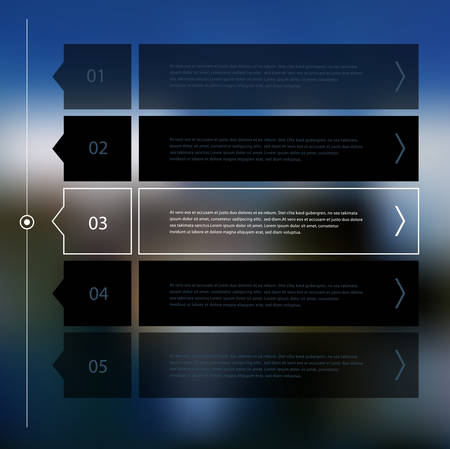 Timeline and option step progress banners on blurred defocused background Illustration