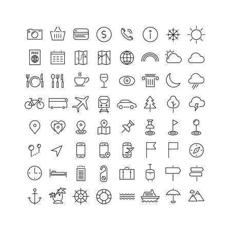 metaphors: Vector set of modern inline thin icons of travel and tourism metaphors