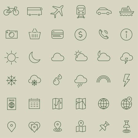 inline: Vector set of modern inline thin icons of travel and tourism metaphors, set 1 Illustration