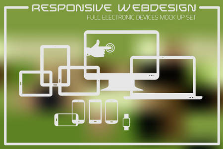 Flat responsive design kit of modern electronic gadgets