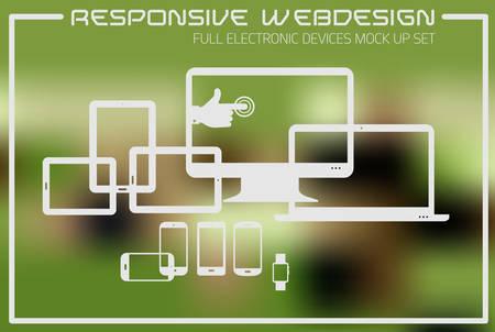 Flat responsive design kit of modern electronic gadgets