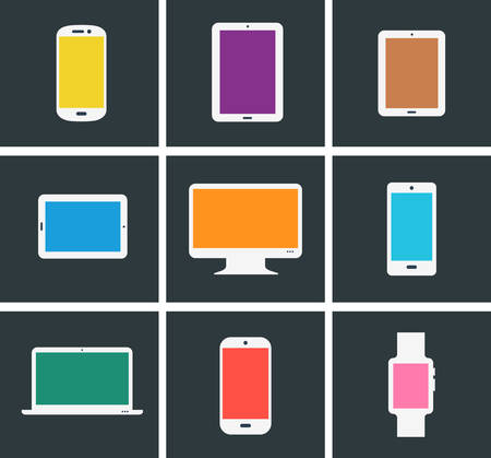 Flat design trend colored modern electronic gadgets