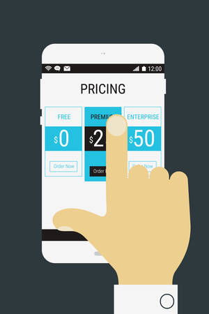 Flat design modern concept with hand holding mobile device with a product price landing page