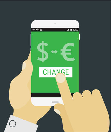 Flat design modern concept with hands holding mobile device with currency exchange application Illustration