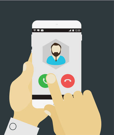 Flat design modern concept with hands holding mobile device with phone call application 일러스트