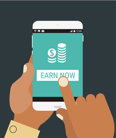 mobile application: Flat design modern concept with hands holding mobile device with financial application
