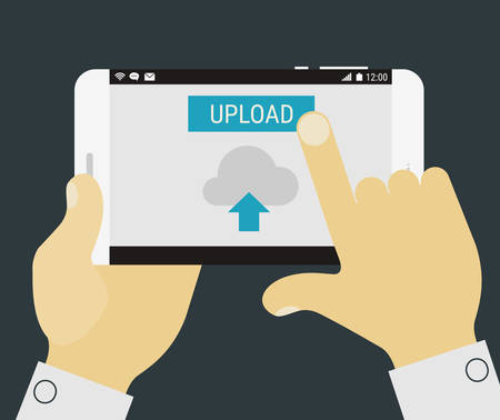 uploading: Flat design illustration with hand holding mobile device with uploading application