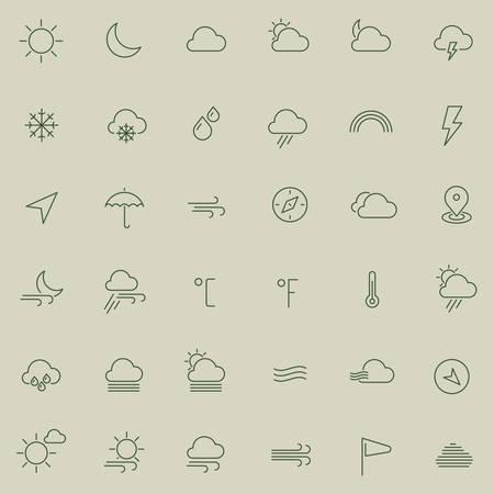 meteo: Icone colorate sottili moderna linea di tempo piatta Vettoriali