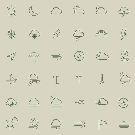 thin: Modern flat weather line thin colored icons Illustration