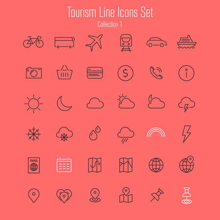 Vector set of modern inline thin icons of travel and tourism metaphors, set 1 Illustration
