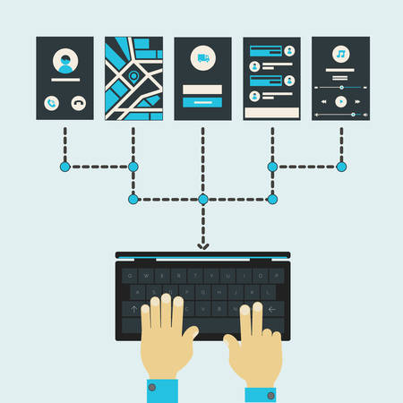 flexible business: Mobile website and application sitemap designing and coding concept Illustration