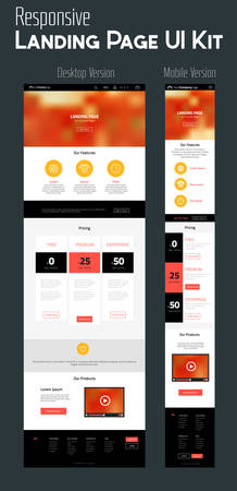 website template: Responsive landing page or one page website template with mobile and desktop versions and high-detailed laptop, tablet and smartphone mock-up