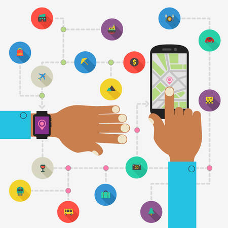 everyday: Wearable technology concept. Everyday life using. Map directions and traveling with smart watch and smartphone Illustration