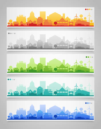 Vector collection of 5 horizontal banners with small town or village silhouettes Illustration