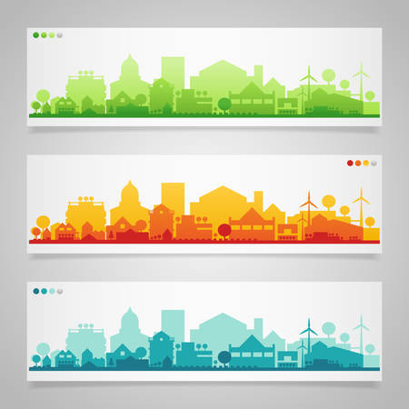Vector collection of 3 horizontal banners with small town or village silhouettes 일러스트