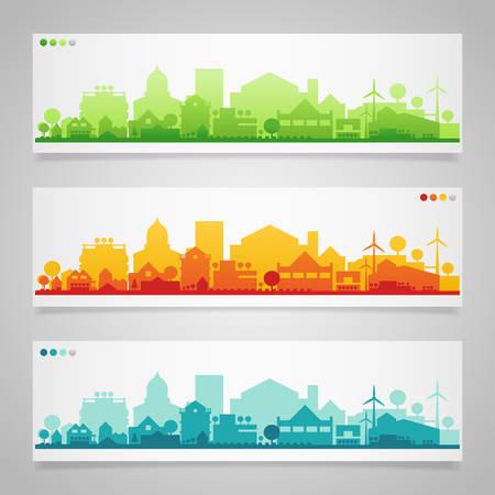 Insieme vettoriale di 3 banner orizzontale con piccola città o villaggio sagome