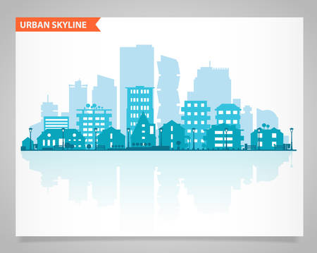 city background: Cityscape set with various parts of a city. Small towns or suburbs and downtown silhouettes