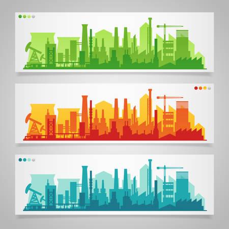 Wektor poziome transparenty z przemysłowej części miasta. Fabryki, rafinerie i elektrownie