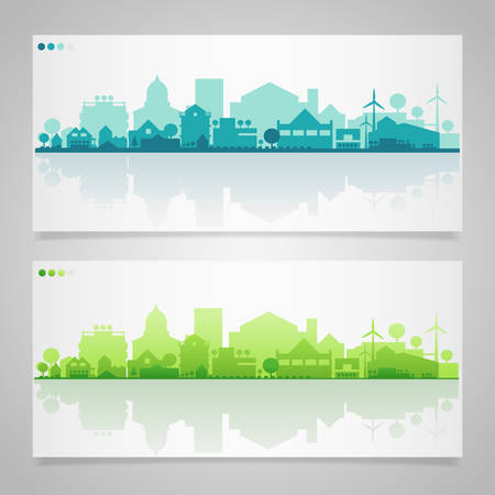 skyline city: Vector horizontal banners of small town or village Illustration