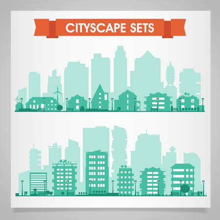 Cityscape sets with various parts of a city. Small towns or suburbs and downtown silhouettes Reklamní fotografie - 45941174
