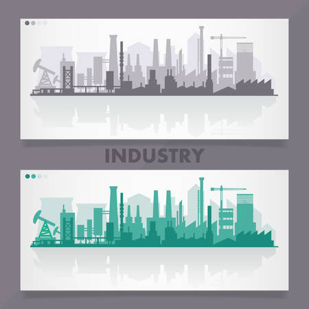 Vector horizontal banners with industrial part of city. Factories, refineries and power plants 일러스트