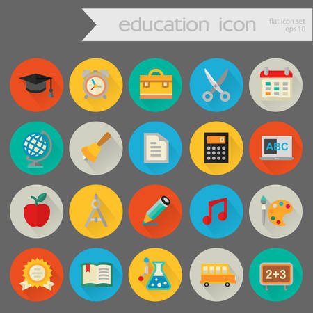 exercisebook: Flat detailed education colored icons on colored circles