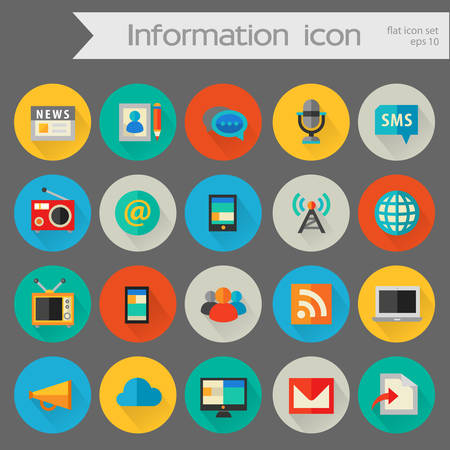 Flat detailed information colored icons on colored circles