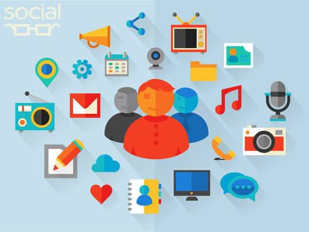feed: Flat design vector concept for social networking Illustration