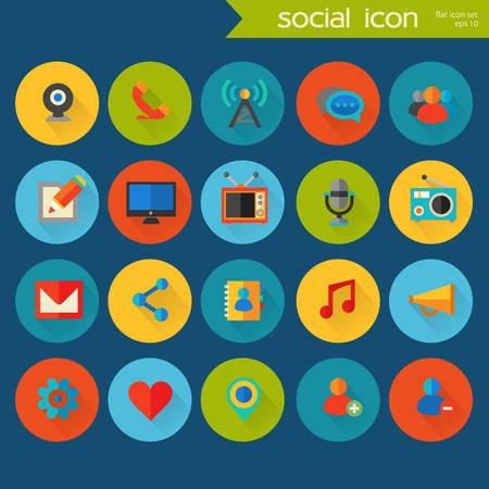 iconos de m�sica: Iconos detallados planos de moda sociales de colores en c�rculos de colores