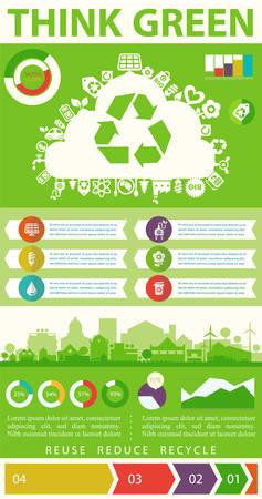 Utilitarios infografía ecológicos Piense verde con cartas gráfico elementos y ciudad