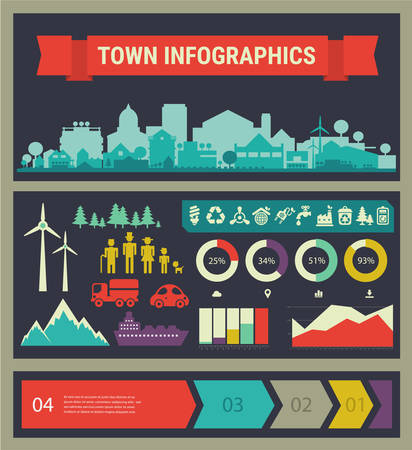 small town: Small town and village infographics. Vector collection