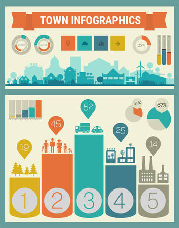 green building: Small town and village infographics. Vector collection