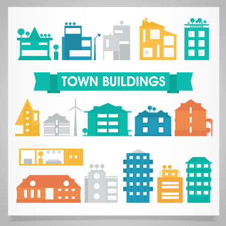 green construction: Town and city buildings and houses collection