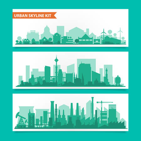 silhouette industrial factory: Vector horizontal banners skyline Kit with various parts of city. Factories, refineries, power plants and small towns or suburbs. Illustration divided on layers for create parallax effect