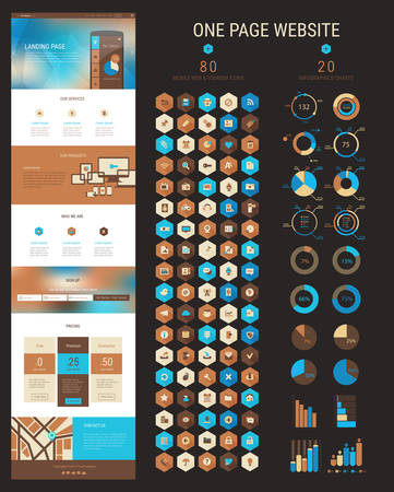 css: Responsive landing page or one page website template in flat design with modern blurred polygonal header background and 80 hexagonal icons and 20 infographics packs