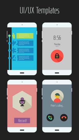 ui: Modern flat design UI mobile application templates