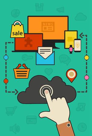 synchronization: Flat design trendy cloud computing and synchronization concept