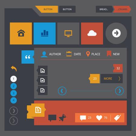 플랫 디자인 UI UX 간단한 템플릿 컬렉션, 어두운 시리즈 일러스트
