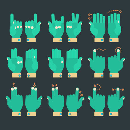 multitouch: Flat design modern cartoon zombie style multitouch gestures hands icons
