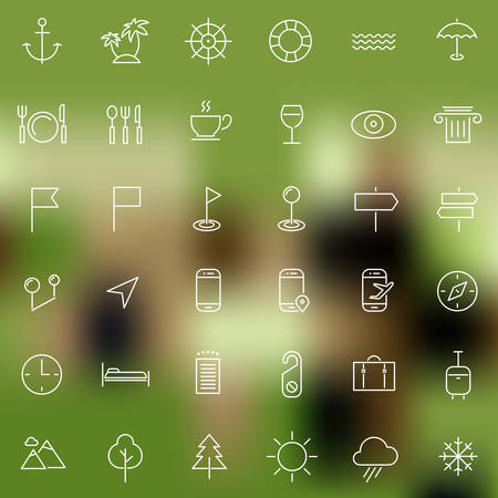 sights: Vector set of modern inline thin icons of travel and tourism metaphors, set 2 Illustration