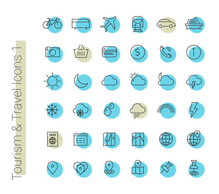 travel icon: Vector set of modern inline thin icons of travel and tourism metaphors, set 1 Illustration