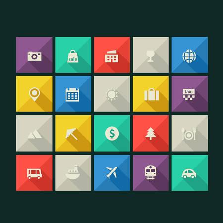 affari: Moderno minimalista collezione di icone di turismo con lunghe ombre Vettoriali