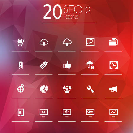 design objects: Simple thin SEO set 2 icons on bright blurred and polygonal background, 10 EPS