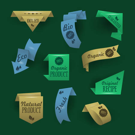 Collection of sale discount origami styled website ribbons, corners, labels, curls and tabs. Image contains transparency - you can put them on every surface. 10 EPS Illustration